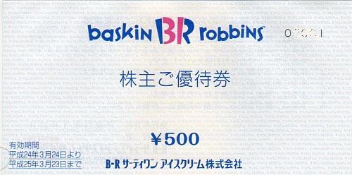2268B-Rサーティワンアイスクリーム株式会社2012年春株主優待券