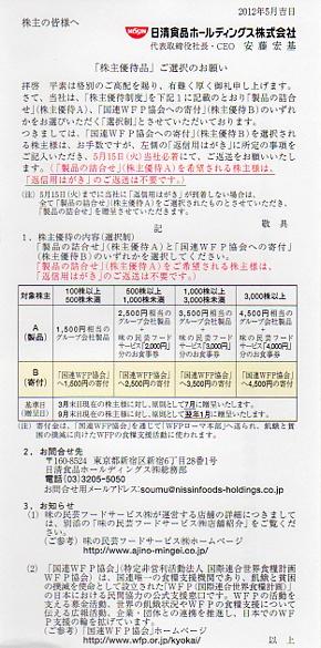 2012年5月吉日株主の皆様へ日清食品ホールディングス株式会社株主優待品ご選択のお願い