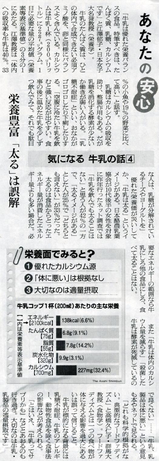 朝日新聞2010年平成22年4月20日28面気になる牛乳の話4栄養豊富「太る」は誤解